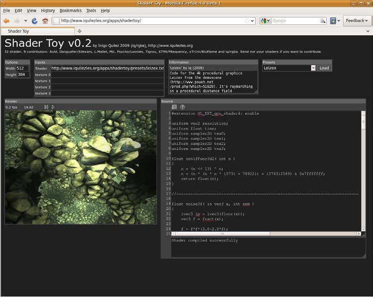图11-2 shader Toy是一个WebGL着色工作台