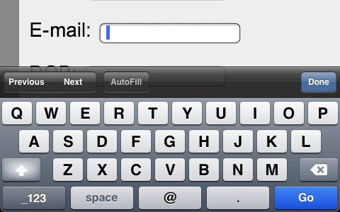 图7-2 类型为email时代屏幕键盘
