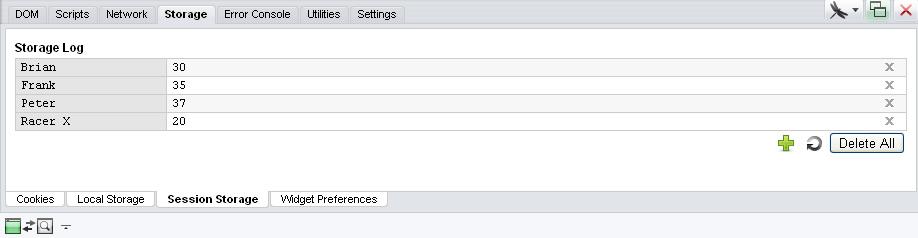 图9-6 Opera浏览器Storage面板中的储存数据