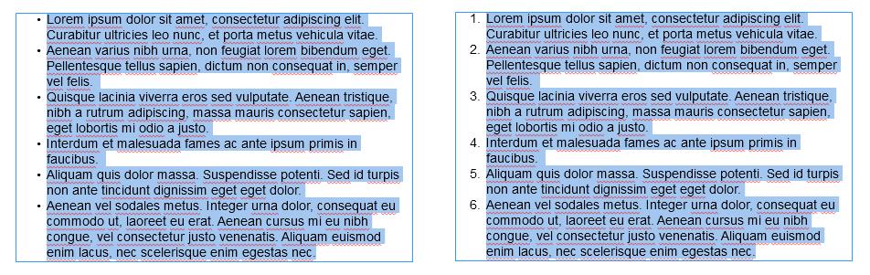 使用半角中点创建项目符号列表。