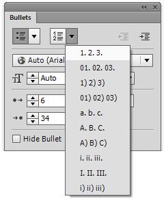 使用 Adobe Muse 创建编号列表或有序列表。