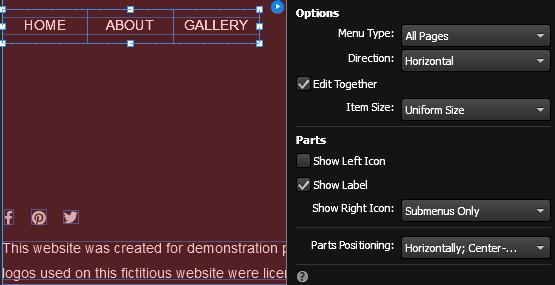 """将""""菜单""""构件定位到标题中的棕色功能区背景图像顶部。"""