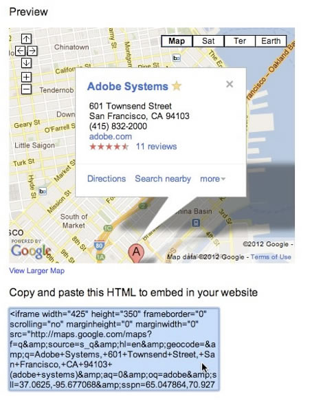 从 Google 地图窗口复制 HTML 源代码