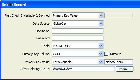 在 Dreamweaver 中生成删除记录页
