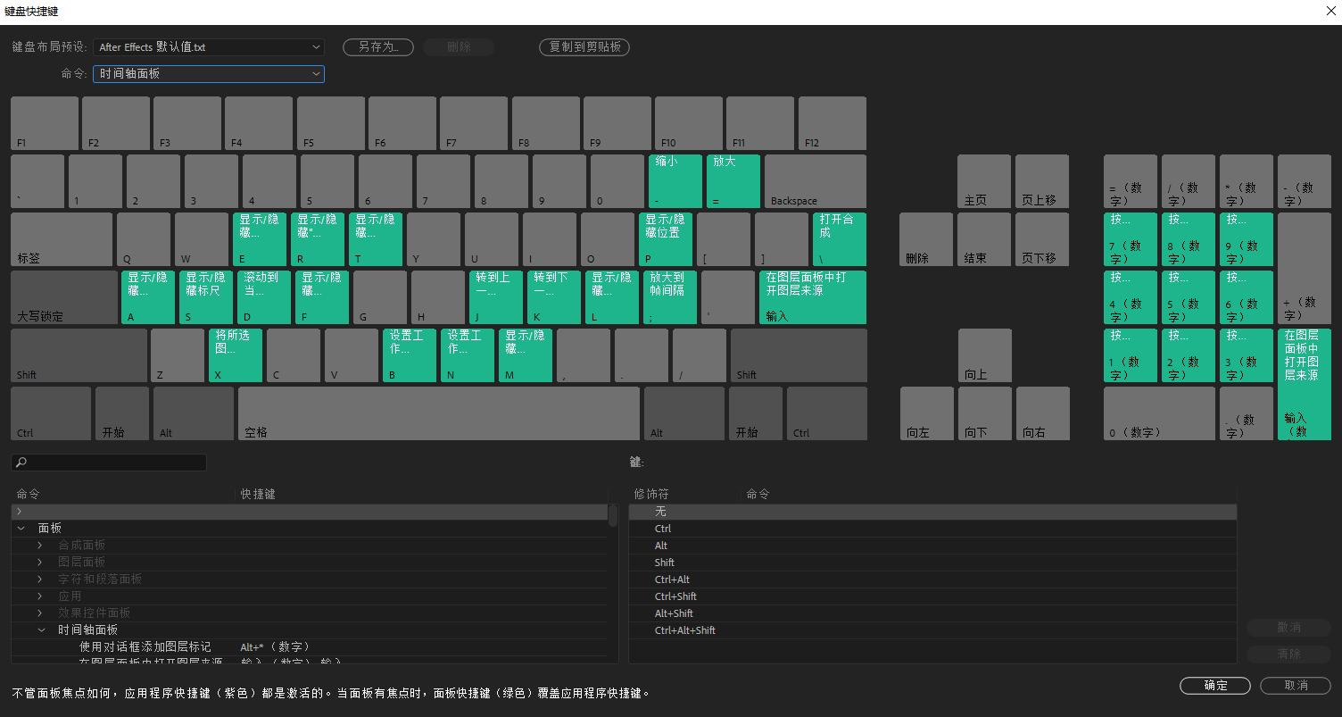 After Effects 中的预设和自定义键盘快捷键