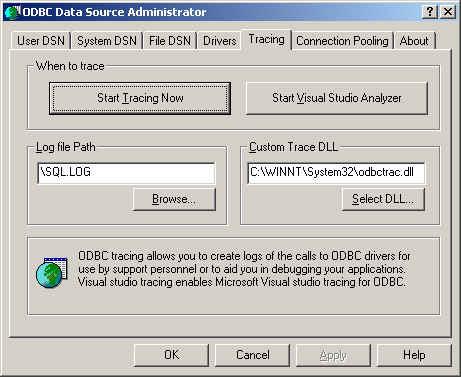ODBC Tracing  Tab