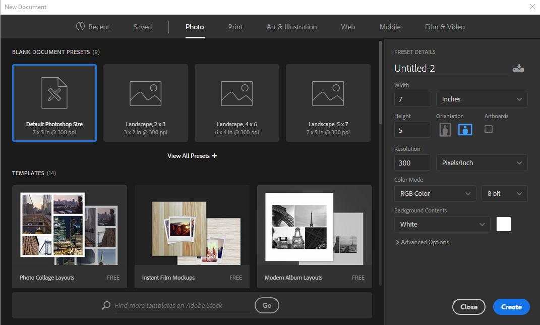 使用模板和预设在 Photoshop 中创建文档